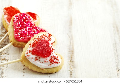 Heart-shaped cookies for Valentines Day