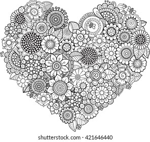 Heart-shaped doodle pattern. Coloring book for adult. Raster copy