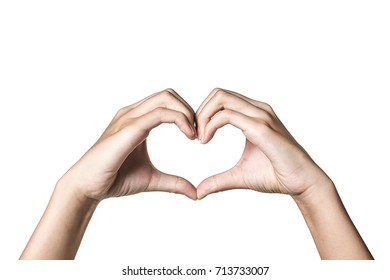 A heart-shaped gesture \/ hand gesture