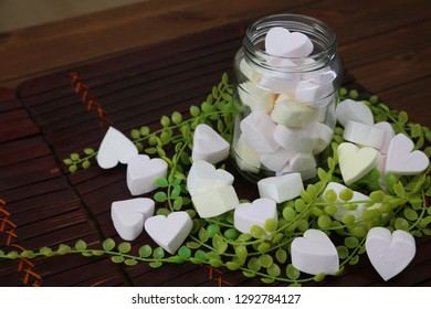 heart-shaped marshmallow and glass