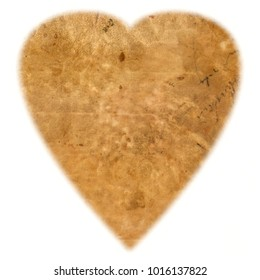 HEART-Shaped Original Antique PAPER Texture isolated on White Background, gradient edges, with space for your design or text.