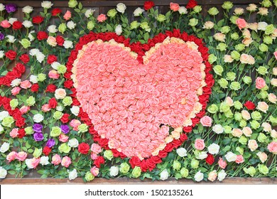 A heart-shaped pattern of flowers