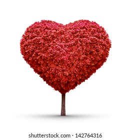 Heart-shaped red tree isolated
