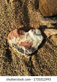 Heart-Shaped Rock on a Beach in the Bay of Fundy, New Brunswick, Canada, North America as a Sign of Love