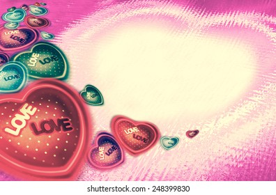 Heart-shaped set different color on abstract pink background for a Valentine's day, love concept, vintage picture style, wedding presentation