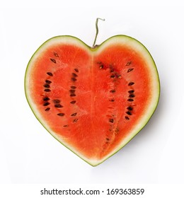 Heart-shaped water-melon on white background