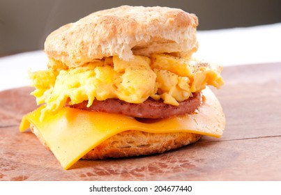 hearty egg, sausage, cheese sandwich on a homemade buttermilk biscuit