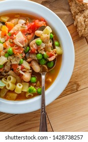 Hearty Italian minestrone soup with sausage and ditalini pasta