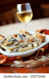 Hearty Macaroni and Cheese with Butternut Squash and Spinach, Glass of White Wine