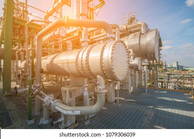 Heat exchanger in process area of petroleum and refinery plant ,complex engineering constructions