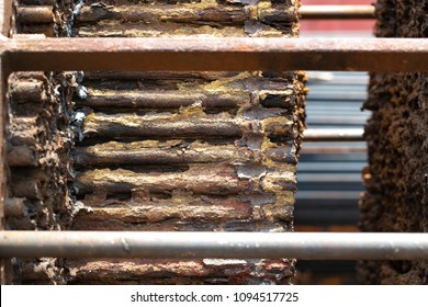 Heat exchanger tube maintenance shows fouling of deposit on shell side prevent flow of cooling/heatiing media.