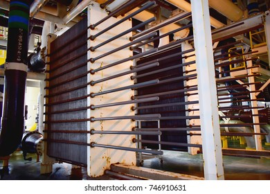Heat exchangers for cooling medium of oil and gas process. Oil refinery. Equipment for primary oil refining.