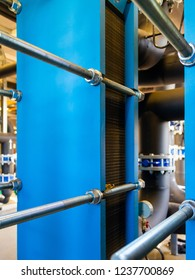 Heat exchangers for cooling medium of water, oil and gas process. Boiler room or oil refinery. Industrial equipment. Selective focus