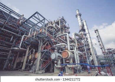 Heat exchangers in a refinery. The equipment for pipe line oil refining.