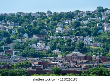 Heat haze provides an abstract look to the homes on South Side Slopes in Pittsburgh PA