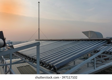 Heat Pipe Components of Solar Hot Water sunset background.
