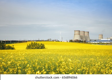 Heat power station on the rapeseed field