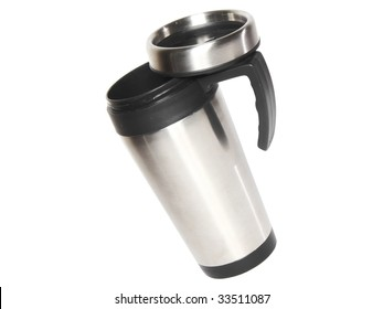 Heat protection-thermos( steel travel)coffee mug isolated on white.