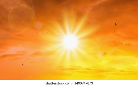 Heat wave of extreme sun and sky background. Hot weather with global warming concept. Temperature of Summer season.