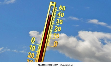 heat wave -thermometer 40 forty degrees  - summer