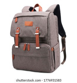 Heather Brown Retro Vintage Canvas Nylon Diaper Bag Backpack Isolated. Satchel Rucksack with Leather Trim. Camping Daypack Front View. Travel Back Pack with Shoulder Straps & Haul Loop