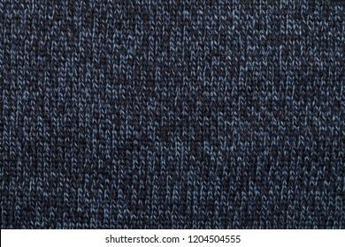 Heather dark blue knitted fabric textured background