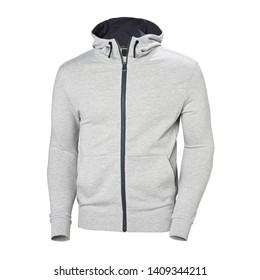 Heather Gray Hoodie Isolated on White. Full Zip Jumper with Hood Side View. Zippered Pullover Hoodies. Zipper Hooded Sweatshirt. Long Sleeve Apparel. Men's Top Warm Zip Up Fleece Hoody Sweater