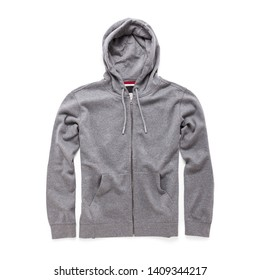 Heather Gray Hoodie Isolated on White . Full Zip Jumper with Hood Side View. Zippered Pullover Hoodies. Zipper Hooded Sweatshirt. Long Sleeve Clothing Apparel. Men Top Warm Zip Up Fleece Hoody Sweater