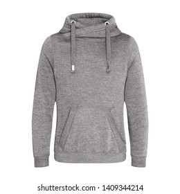 Heather Gray Pullover Hoodie Isolated on White. Jumper with Hood. Zipperless Pullover Hoodies. Girl's Hooded Sweatshirt. Lady Long Sleeve Clothing Apparel. Women's Top Warm Fleece Hoody Sweater