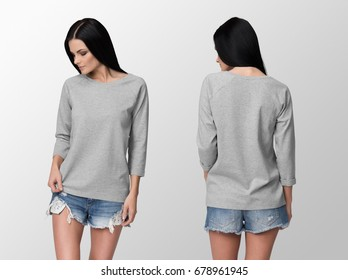 Heather grey long sleeve t-shirt on a young woman in shorts, front and back, isolated, mockup.