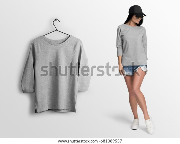 a6ab7ed6 Heather Grey Long Sleeve Tshirt On Stock Photo (Edit Now) 681089557
