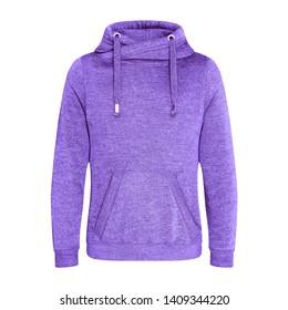 Heather Purple Pullover Hoodie Isolated on White. Jumper with Hood. Zipperless Pullover Hoodies. Girl's Hooded Sweatshirt. Lady Long Sleeve Clothing Apparel. Women's Top Warm Fleece Hoody Sweater