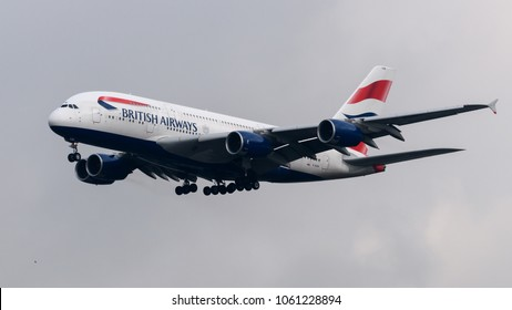 Heathrow Airport, London, England on March 7 2018. British Airways Airbus A380 landing