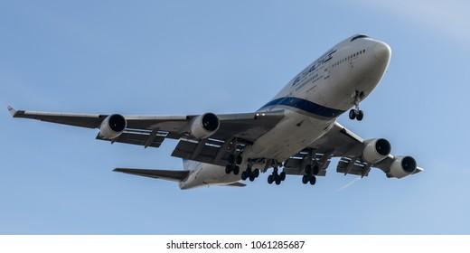 Heathrow Airport, London, England on March 7 2018. EL-AL Boeing 747 landing