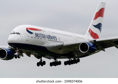Heathrow Airport, London, England on May 15 2018. British Airways Airbus A380 landing