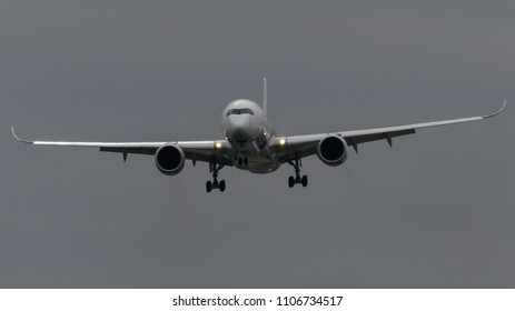 Heathrow Airport, London, England on May 15 2018. Malaysian Airlines Airbus A350 landing