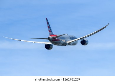Heathrow Airport, London, England on August 17 2018. American Airlines Boeing 787 departing