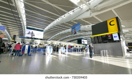 Heathrow airport, UK - 15 SEP 2017 - Heathrow airport is the biggest and busiest airport in the UK, located in West London.