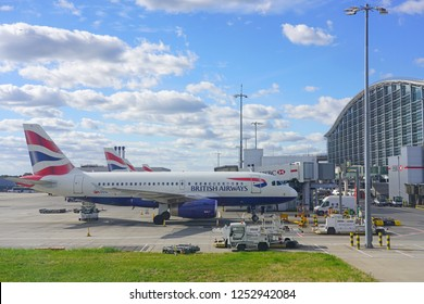 HEATHROW, ENGLAND -1 OCT 2018- View of airplanes from British Airways (BA) at London Heathrow Airport (LHR), the main airport in London.