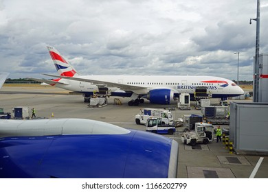 HEATHROW, ENGLAND -10 APR 2018- View of airplanes from British Airways (BA) at London Heathrow Airport (LHR), the main airport in London.