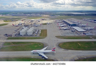 HEATHROW, ENGLAND -12 MAY 2017- View of airplanes from British Airways (BA) at the T5 Terminal 5 at London Heathrow Airport (LHR), the main airport in London.