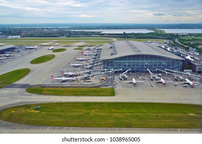 HEATHROW, ENGLAND -16 MAY 2017- Aerial view of airplanes from British Airways (BA) at London Heathrow Airport (LHR), the main airport in London.