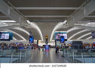 HEATHROW, ENGLAND -2 JUN 2019- View of the interior of the international terminal T5 at London Heathrow International Airport (LHR), home of British Airways (BA).