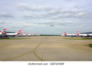 HEATHROW, ENGLAND -23 APR 2018- View of airplanes from British Airways (BA) at London Heathrow Airport (LHR), the main airport in London.