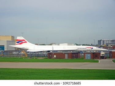 HEATHROW, ENGLAND -23 APR 2018- A retired Concorde supersonic jet airplane from British Airways (BA) is on permanent display at the London Heathrow International Airport (LHR).