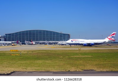 HEATHROW, ENGLAND -27 JUN 2018- View of airplanes from British Airways (BA) at London Heathrow Airport (LHR), the main airport in London.