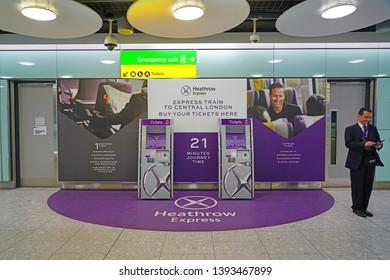HEATHROW, ENGLAND -3 APR 2019- View of the Heathrow Express, an airport link connecting the London Heathrow International Airport (LHR) to London's Paddington Station.