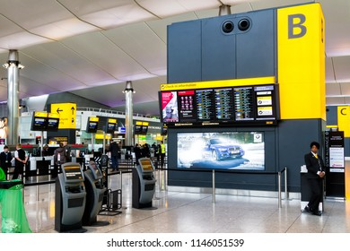 HEATHROW, ENGLAND - AUGUST 11: Check-in hall of London Heathrow Airport on August 11, 2016 in London, England. Interior of Terminal 5 at night.