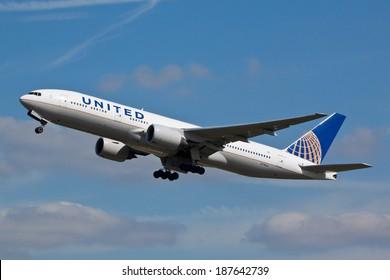 HEATHROW, LONDON, UK - April 10: United Airlines Boeing 777 (N774UA) taking off on April 10, 2014 at London Heathrow Airport, London, UK.