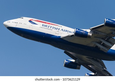 HEATHROW, LONDON, UK - April 20: British Airways Boeing 747 (G-CIVE) taking off on April 20, 2018 at London Heathrow Airport, London, UK.